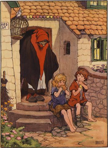 Vrajitoarea ii gaseste pe Hansel si Gretel, ilustratie de Frank Adams